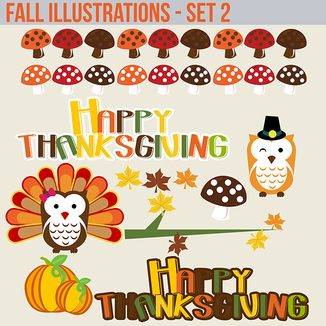 halloween fall owl clipart graphics commercial use copy art