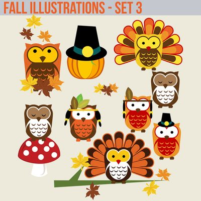 Fall Halloween Clipart Commercial use