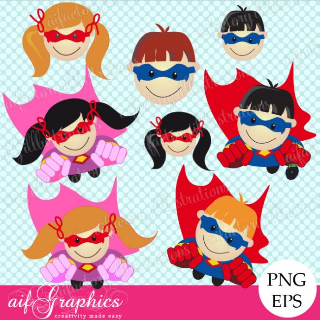 Superhero Clipart, Clip Art , illustration , Graphics, image , illustration