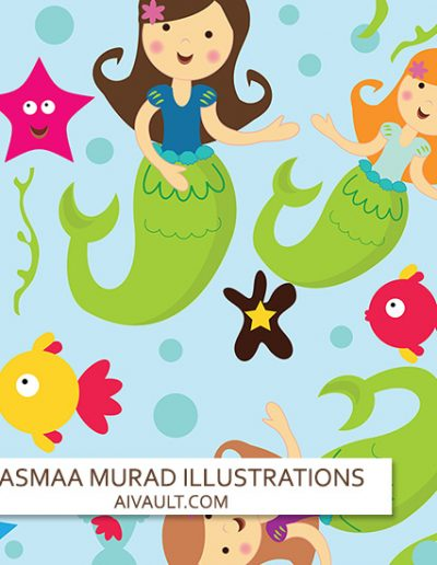mermaid-se-pattern-design-illustration