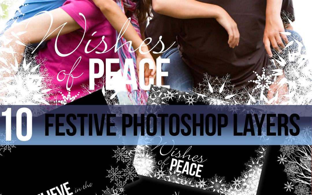 Christmas snowflakes festive photo templates for photoshop