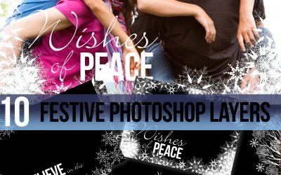 Christmas snowflakes festive photo templates for photoshop