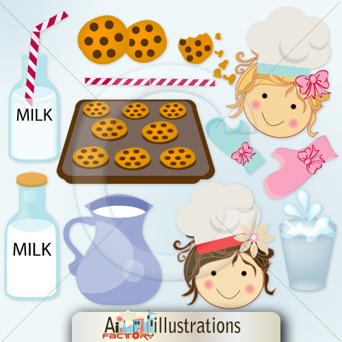 Mil and cookies Cute Digital Clipart