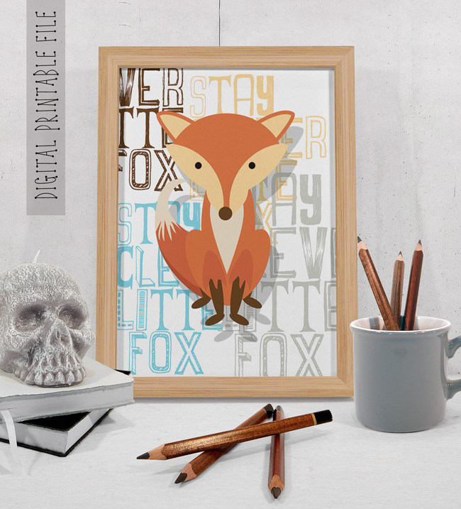 Fox Nursery Decor Wall Art Print
