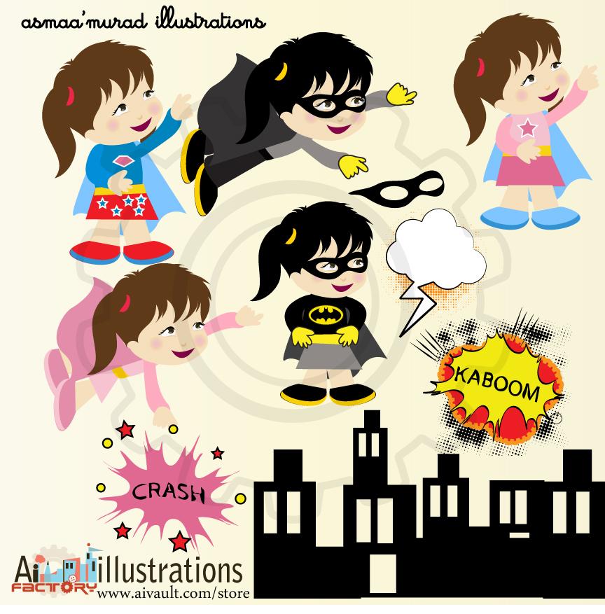 Superhero Clipart girl super hero with cartoon images